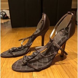 ✨BCBG MaxAzria Chocolate Brown Satin Strap Heels✨